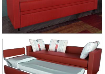 MIA-Divano con secondo letto estraibile sostituibile con cassettone