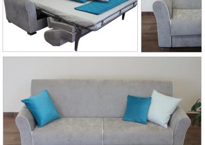 MITO-Divano letto con schienale interno o diviso e. possibile penisola contenitore